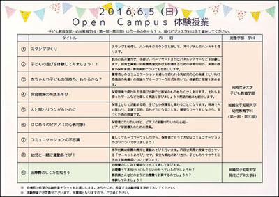 6月オープンキャンパスの体験授業の内容