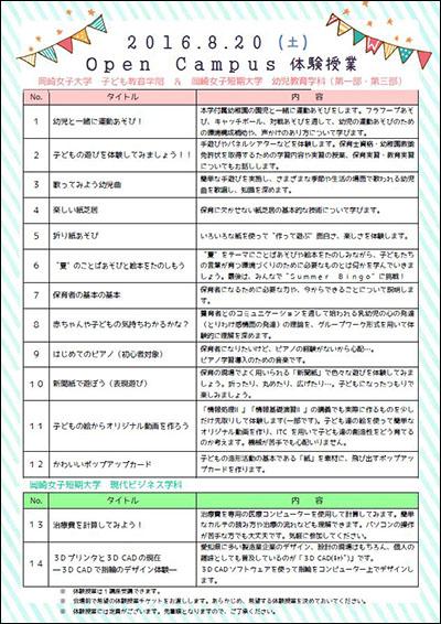 8月20日(土) オープンキャンパス体験授業一覧